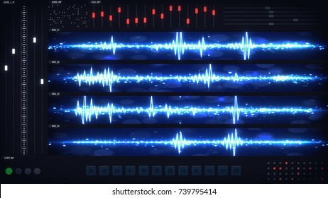 User interface of audio editing software. Abstract audio technology concept. Computer designed image