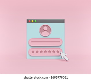 user Login form page. Sign in to account concept. User name, password fields. cartoon style minimal design. 3d rendering