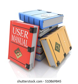 User manual books in the design of related information to give answers to questions. 3d illustration