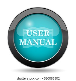 User manual icon. User manual website button on white background.