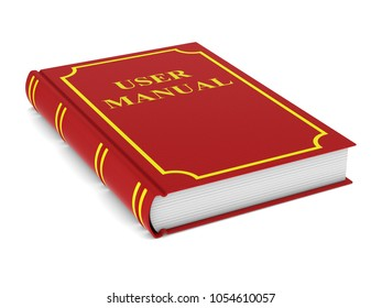 User manual. Red book on white background. Isolated 3d illustration