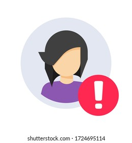 User profile caution or important notice identification icon, personal fake account or fraud risk data alert notification vector flat symbol, web person id safety message isolated clipart image