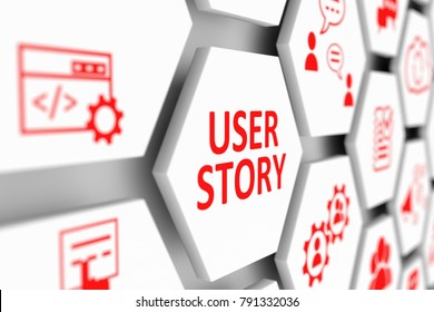 USER STORY concept cell blurred background 3d illustration