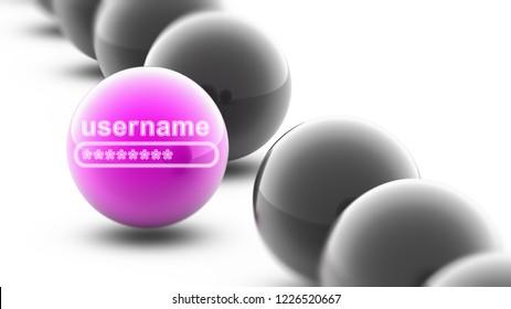 Username on the ball. 3D Illustration.