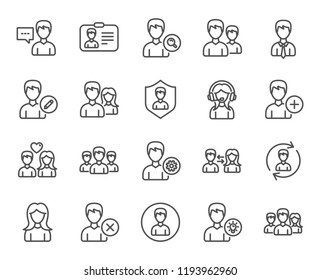 Users line icons. Male and Female people Profiles, Group and Support signs. User ID card, Teamwork and Businessman symbols. Couple love, Security and Human Management. Group of people. Classic style