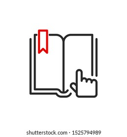 User's Manual book outline flat icon. Single high quality outline logo for web design or mobile app. Thin line sign design logo guide book. Black and red icon pictogram isolated on white background
