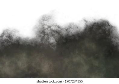 Using brush spray to draw black smog, white background illustration