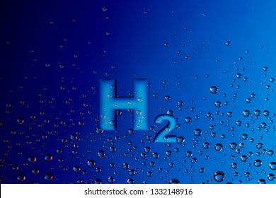 Using hydrogen to power fuel cells,  H2 and water drops, 3d illustration
