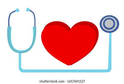 Using tool for making stethoscope ,line of EKG and the heart on the white background. ,the space is for writing the text etc