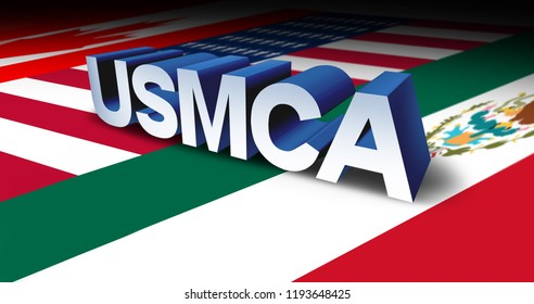 USMCA or the new NAFTA United States Mexico Canada agreement symbol with north america flags as a trade deal economic deal for the American Mexican and Canadian governments as a 3D illustration.
