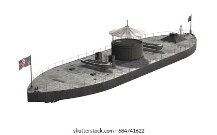 The USS Monitor was a steam powered Civil War Union warship 'Ironclad' reinforced with iron plates - 3D render.