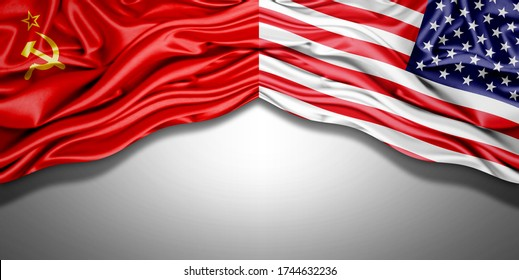 Ussr and American flag of silk with copyspace for your text or images and white background -3D illustration