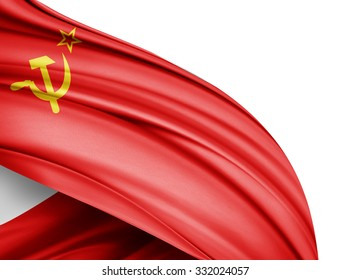 Ussr  flag of silk with copyspace for your text or images and white background