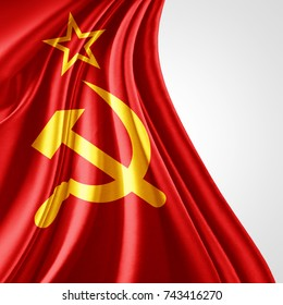 Ussr flag of silk with copyspace for your text or images and white background-3D illustration