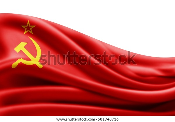 Ussr flag of silk with copyspace for your text or images and white background -3D illustration