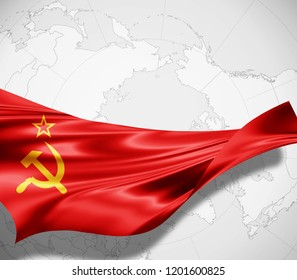 Ussr flag of silk and world map background -3D illustration