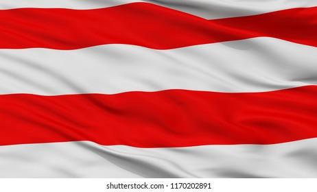 Usti Nad Labem City Flag, Country Czech Republic, Closeup View, 3D Rendering