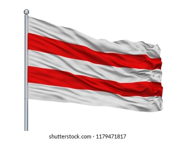 Usti Nad Labem City Flag On Flagpole, Country Czech Republic, Isolated On White Background