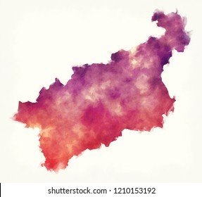 Usti nad Labem region watercolor map of Czech Republic in front of a white background