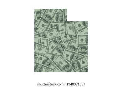 Utah State Map and Money Concept, Hundred Dollar Bills