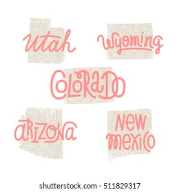 Utah, Wyoming, Colorado, Arizona, New Mexico USA state outline art with custom lettering for prints and crafts. United states of America wall art of individual states