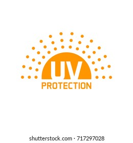 uv protection icon isolated on white, anti sun protect label clipart image