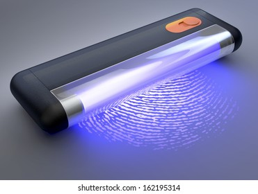 UV, Ultraviolet Light Tube Over Fingerprint, 3d Rendering On Dim Background