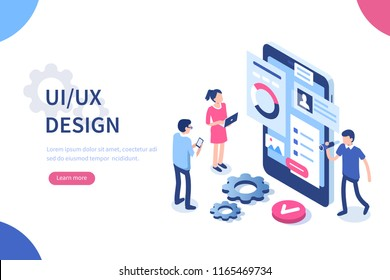 UX / UI design concept with character and text place. Can use for web banner, infographics, hero images. Flat isometric illustration isolated on white background.