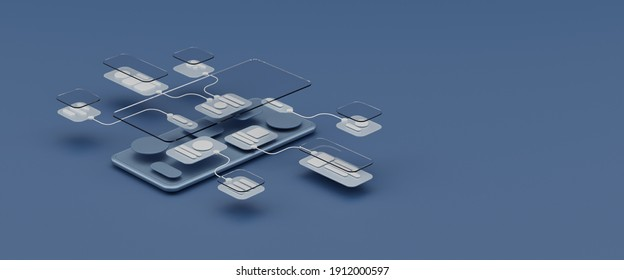 UX UI flowchart connection node graphic designer creative planning application process development data prototype wireframe for web mobile icon phone . User experience concept. 3d rendering.