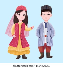 Uzbek minority minority men and women clothing