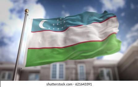 Uzbekistan Flag 3D Rendering on Blue Sky Building Background