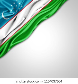 Uzbekistan  flag of silk with copyspace for your text or images and white background-3D illustration