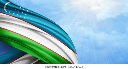 Uzbekistan flag of silk with copyspace for your text or images and sky background-3D illustration