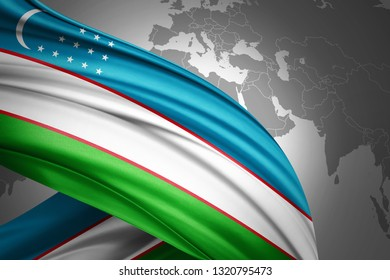 Uzbekistan flag of silk with copyspace for your text or images and world map background-3D illustration