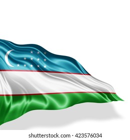 Uzbekistan flag of silk with copyspace for your text or images and white background