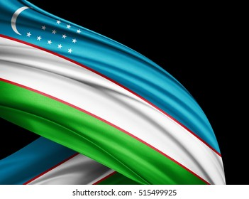 Uzbekistan flag of silk with copyspace for your text or images and black  background -3D illustration