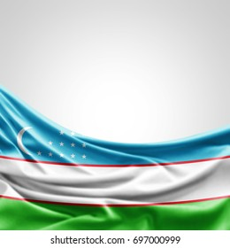 Uzbekistan flag of silk with copyspace for your text or images and white background -3D illustration