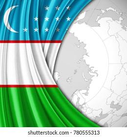 Uzbekistan flag of silk  and world map background-3D illustration