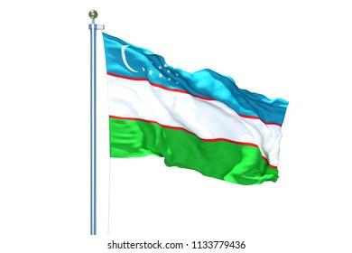 Uzbekistan flag waving on white background, 3d rendering, isolated