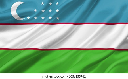 Uzbekistan flag waving with the wind, 3D illustration.