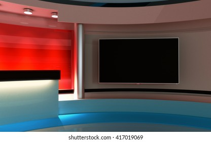 v Studio. News studio. The perfect backdrop for any green screen or chroma key video or photo production. 3d render. 3d visualisation