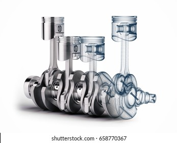 V4 engine pistons and crankshaft on white background. 3d render