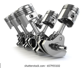 V6 engine pistons and crankshaft isolated on white background. 3d illustration