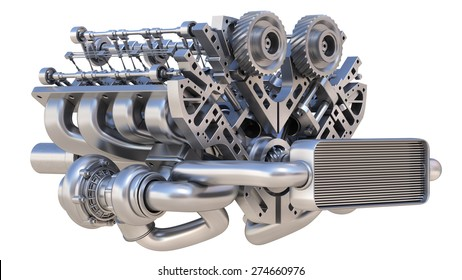 V8 bi turbocharger engine isolated on white background. High resolution 3d