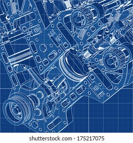 V8 Car engine Cad cartoon white drawing on blue background illustration outline. High resolution 3D