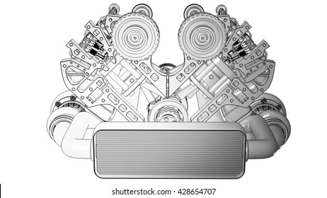 V8 Car engine cartoon illustration outline. High resolution