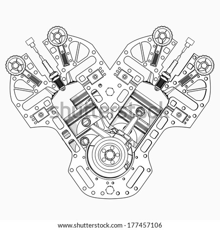 V 8 Car Engine Cartoon Illustration Outline Stock Illustration