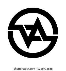 Va letter in circle design logo
