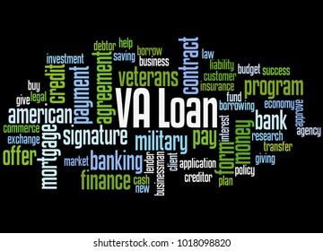 VA loan word cloud concept on black background.