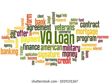 VA loan word cloud concept on white background.
